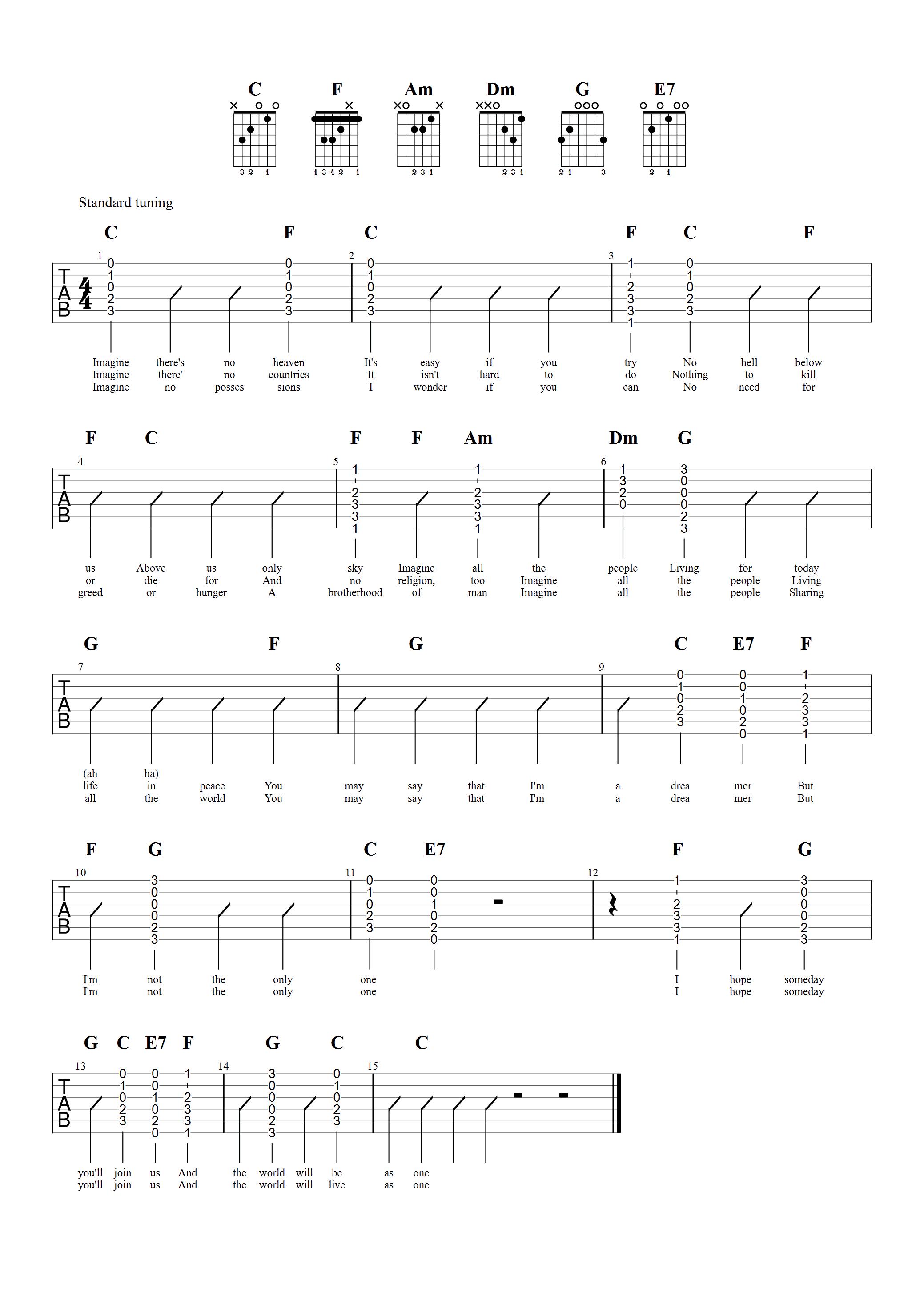 Imagine by John Lennon Guitar Chord Chart